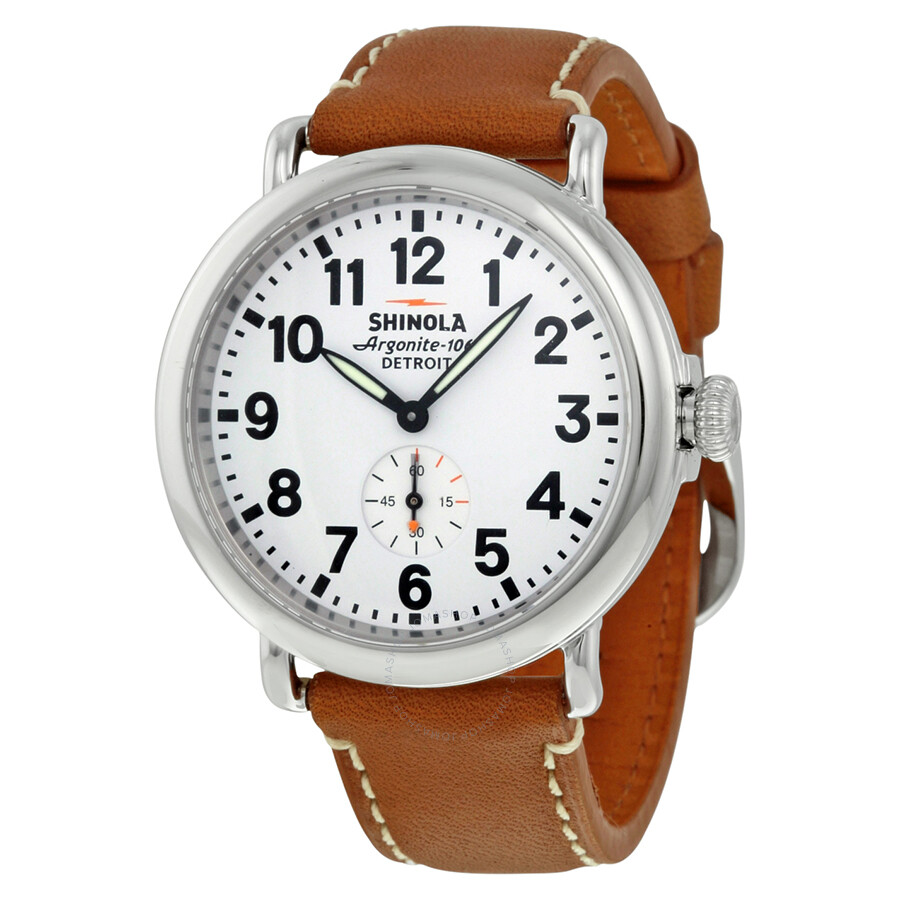 Shinola the runwell white dial tan leather men 39 s watch s0100109 the runwell shinola for Shinola watches