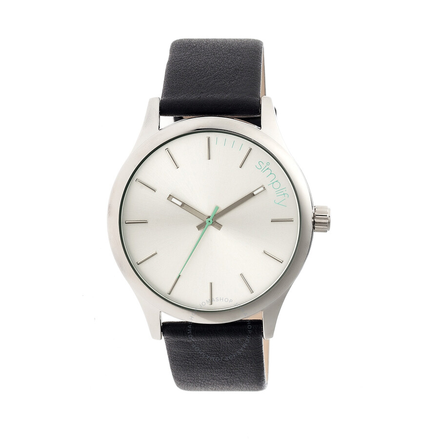 simplify watches jomashop simplify silver brushed finish dial black leather men s watch