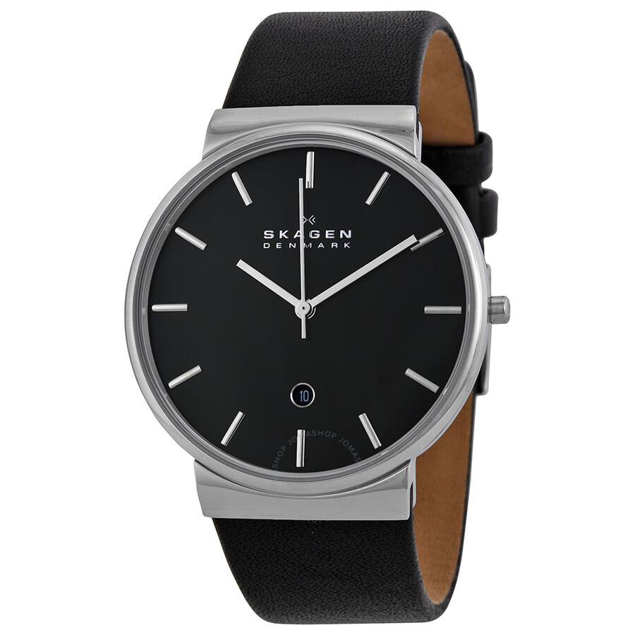 skagen ancher black black leather s skw6104