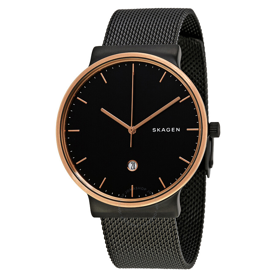 f98baba951 Skagen Ancher Black Dial Black PVD Mesh Men's Watch SKW6296 - Ancher ...