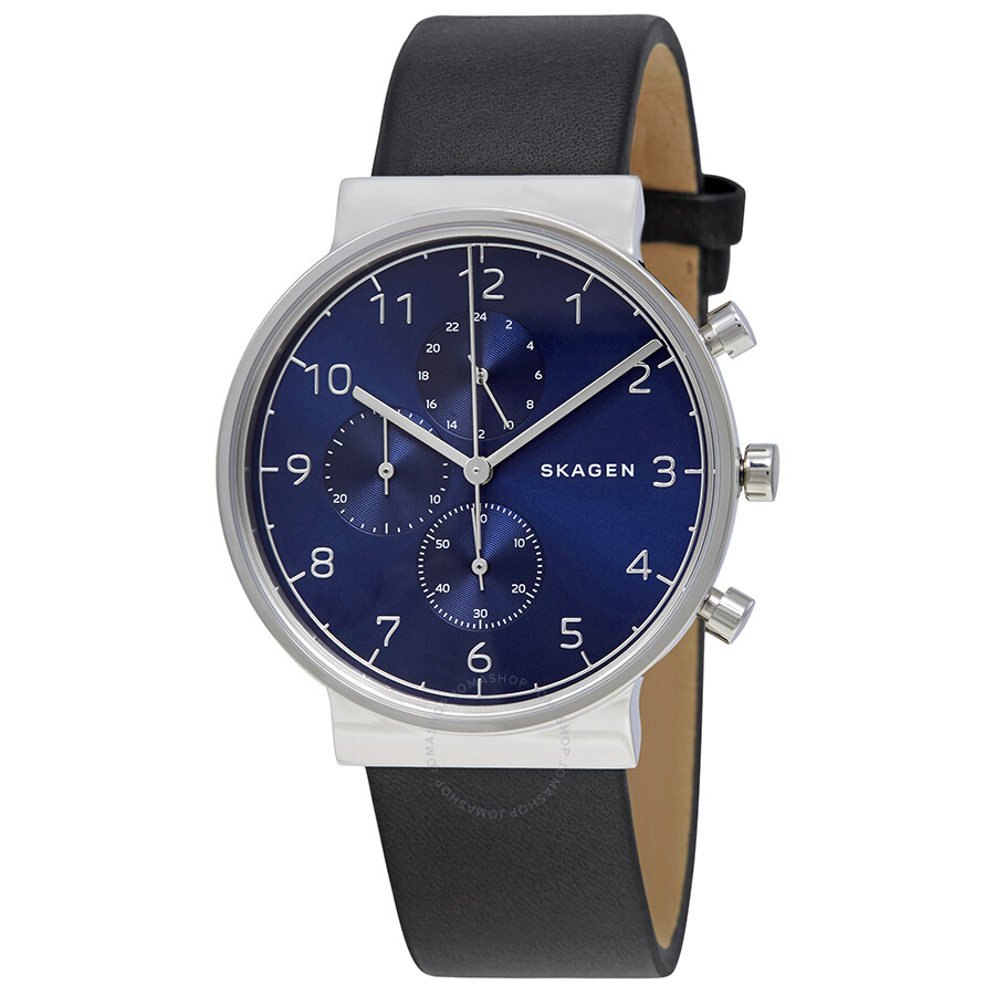 Skagen Ancher Blue Dial Black Leather Men's Chronograph Watch