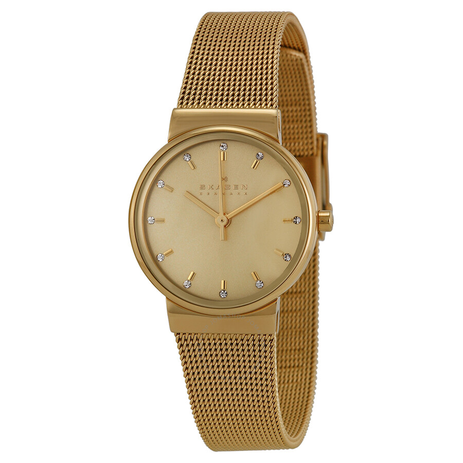 67a57ebd0a35 Skagen Ancher Champagne Dial Gold-plated Ladies Watch SKW2196 ...