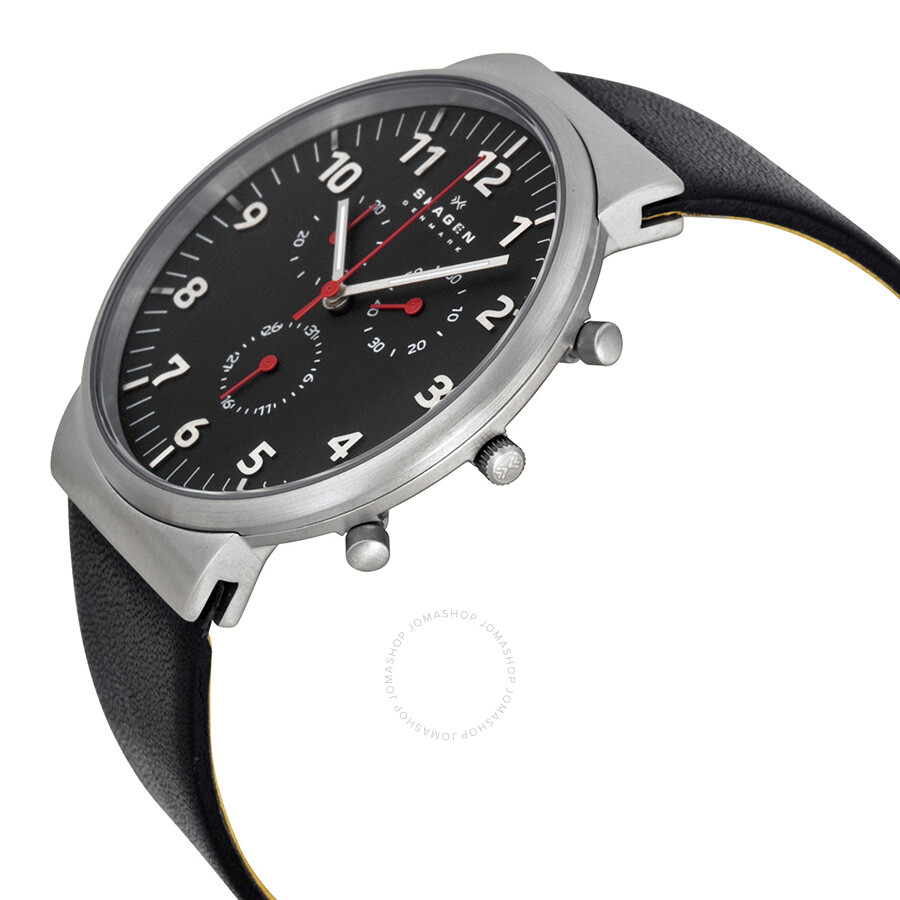 8cb466ab6 ... Skagen Ancher Chronograph Black Dial Black Leather Men's Watch SKW6100  ...