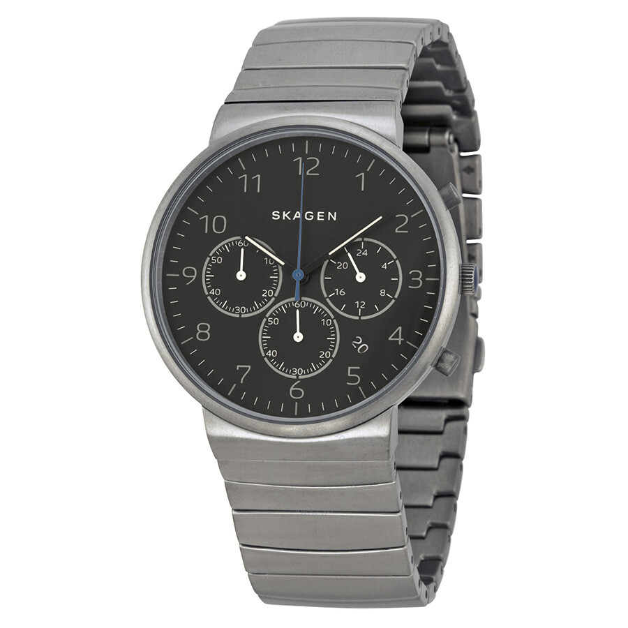 Skagen ancher chronograph black dial titanium men 39 s watch skw6165 ancher skagen watches for Titanium watches