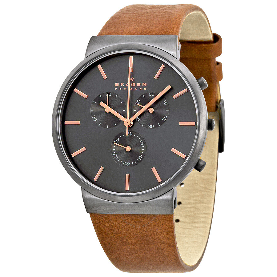 3a70980d1 Skagen Ancher Chronograph Grey Dial Brown Leather Men's Watch SKW6106 ...
