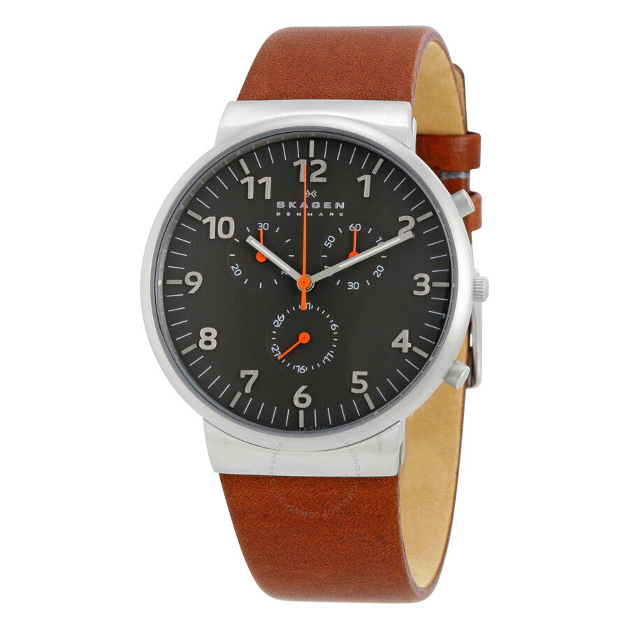 eed209539 Skagen Ancher Chronograph Grey Dial Brown Leather Men's Watch SKW6099 ...