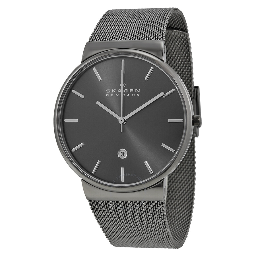 Skagen Ancher Grey Dial Grey Ion Plated Mesh Men S Watch