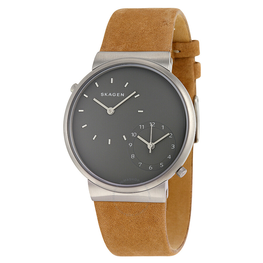 d4e8f8f55ef Skagen Ancher Grey Dual Time Dial Leather Strap Men s Watch SKW6190 ...