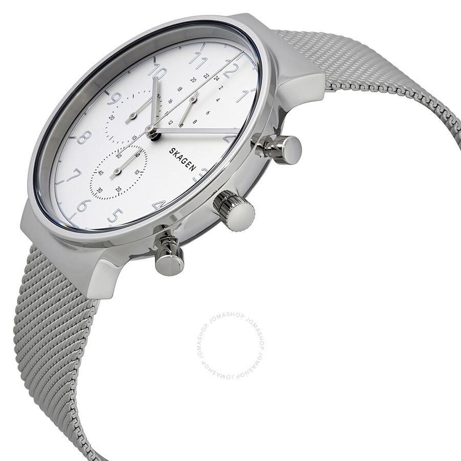 3ff0a037c ... Skagen Ancher Silver Dial Men's Chronograph Mesh Watch SKW6361 ...