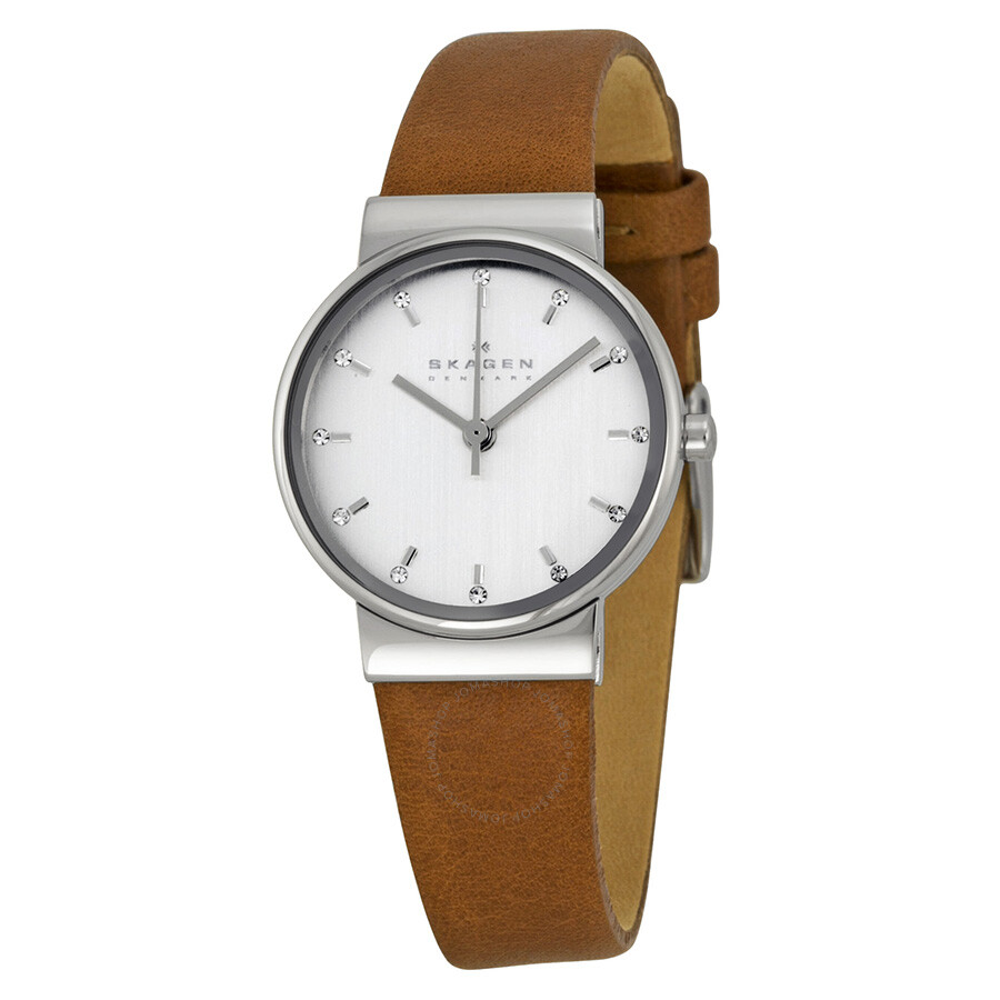 skagen ancher silver dial tan leather ladies watch skw2192. Black Bedroom Furniture Sets. Home Design Ideas