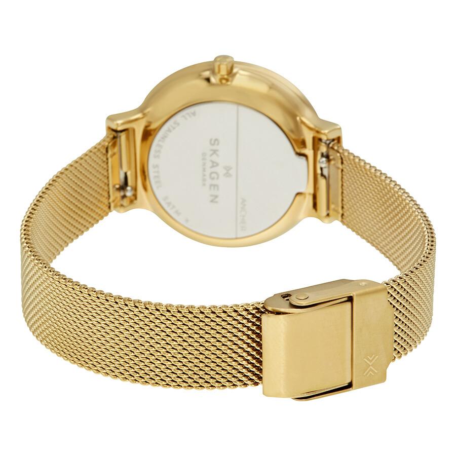 04fe00eb3582 Skagen Ancher White Dial Ladies Gold Tone Mesh Watch SKW2477 ...