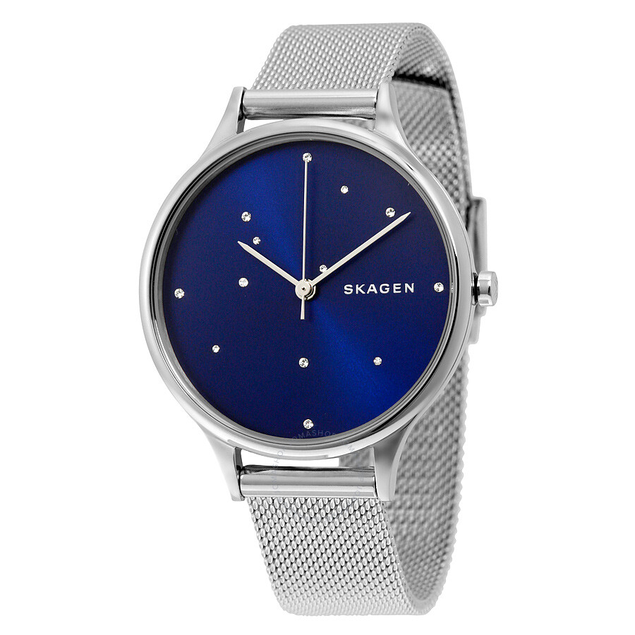 Skagen anita blue crystal constellation dial stainless steel ladies watch skw2391 anita for Stainless steel watch