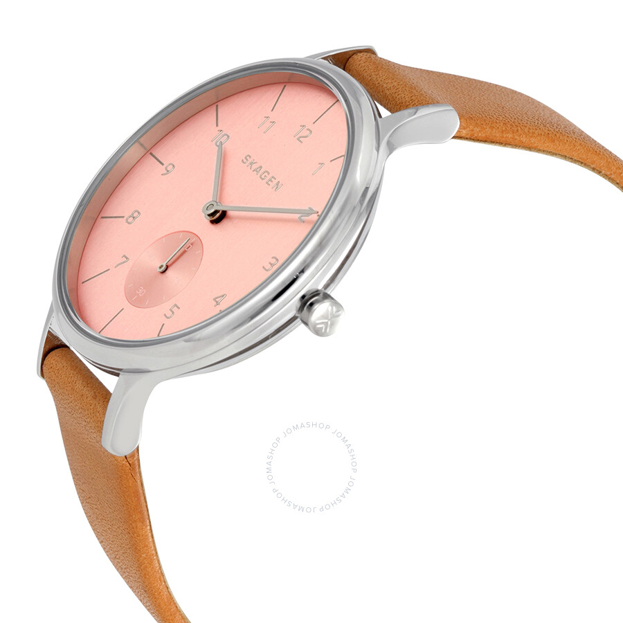 skagen s skw2406 analog pink leather