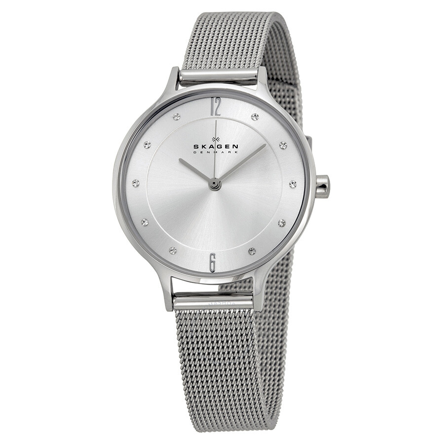 skagen anita silver dial stainless steel mesh ladies watch
