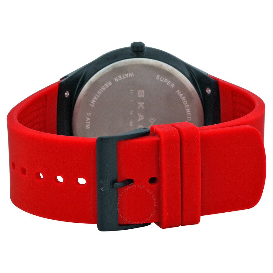 skagen balder black dial red silicone menu0027s watch skw6073