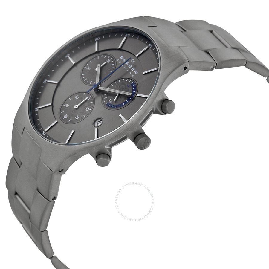 skagen balder chronograph grey titanium bracelet