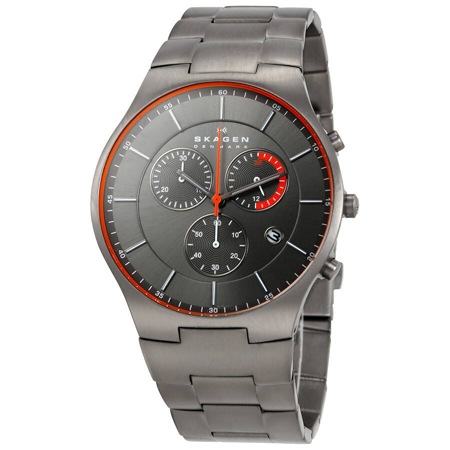 Skagen balder chronograph grey dial titanium men 39 s watch skw6076 titanium skagen watches for Titanium watches