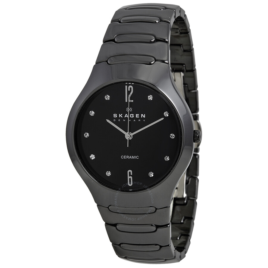 Skagen black ceramic swarovski crystal ladies watch 817sbxbc swarovski with skagen skagen for Crystal watches