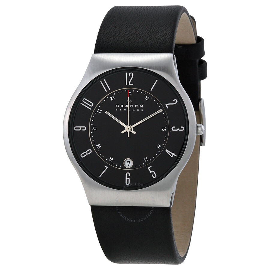 skagen black dial black leather men 39 s watch 233xxlslb steel skagen watches jomashop