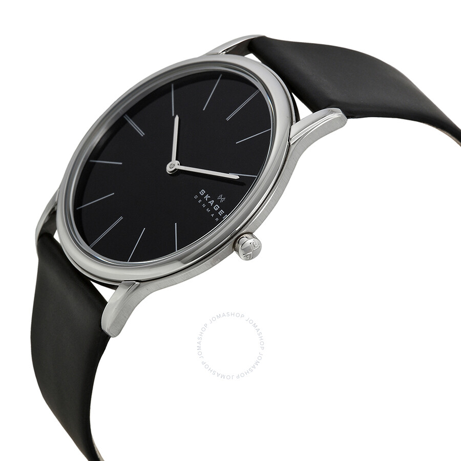 skagen black stainless steel black leather s