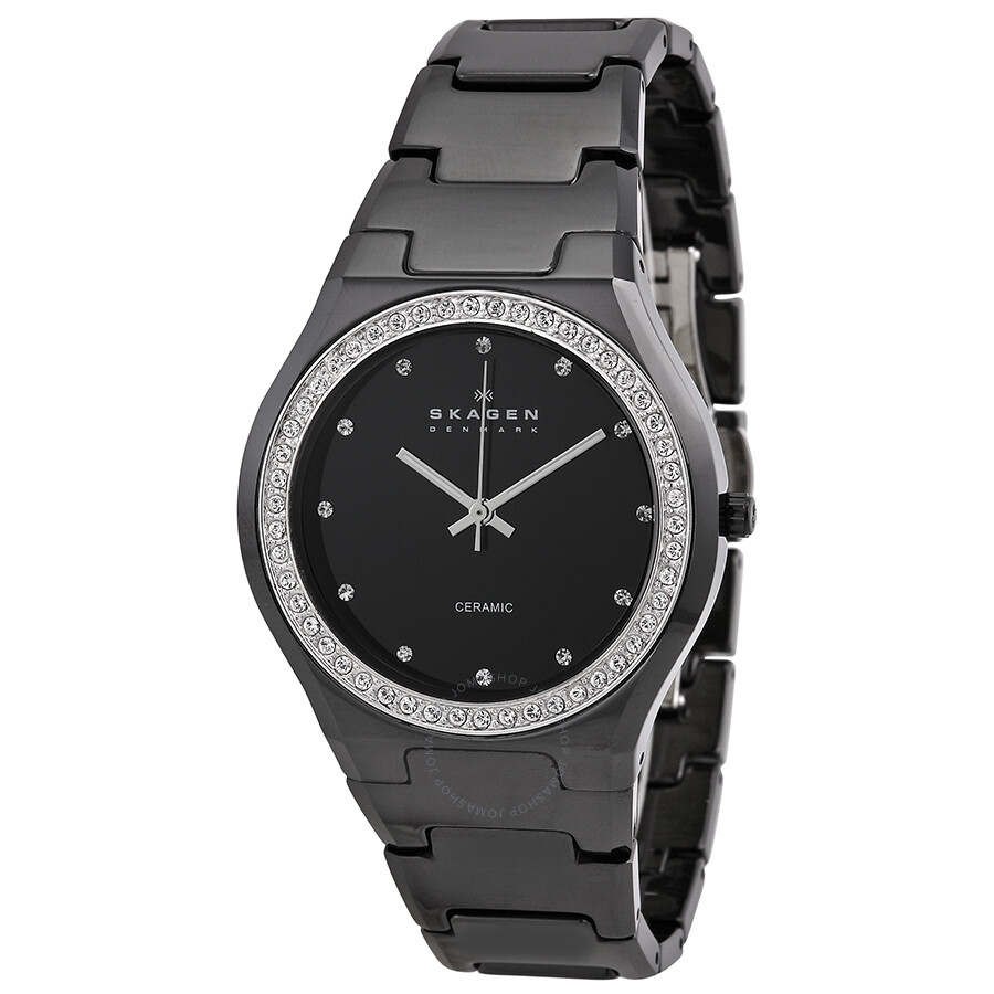 Skagen black dial swarovski crystal black ceramic ladies watch 813lxbc ceramic skagen for Crystal watches