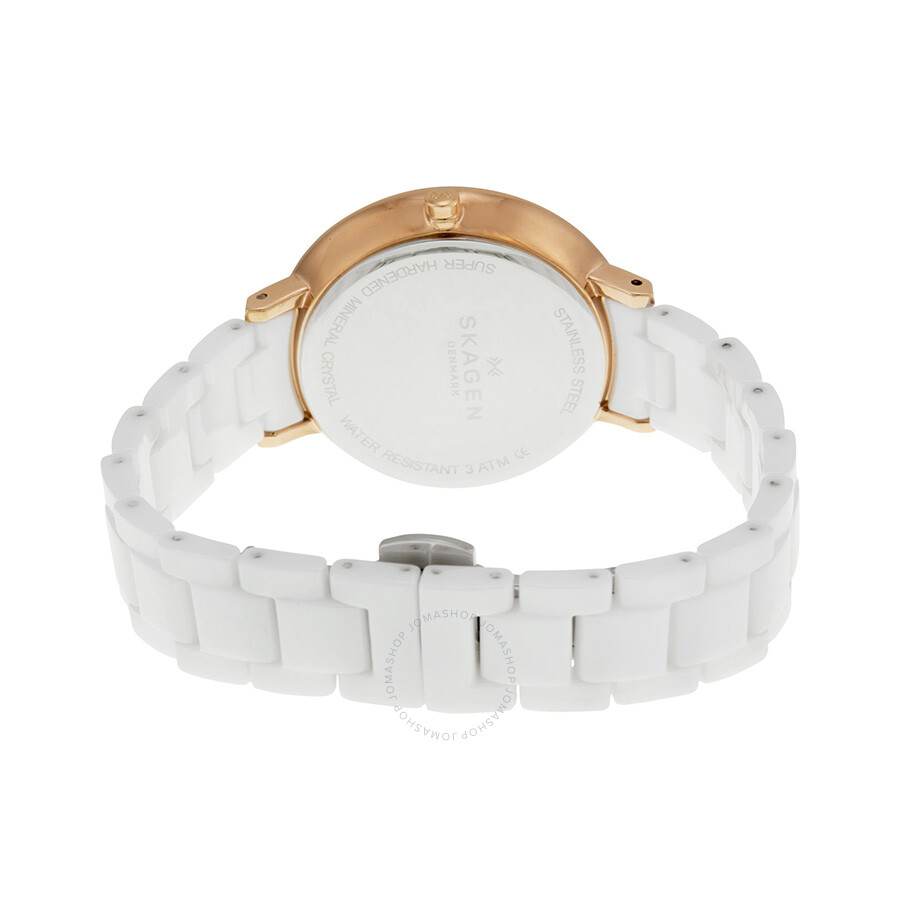 Skagen Ditte White Dial White Ceramic Ladies Watch Skw2316