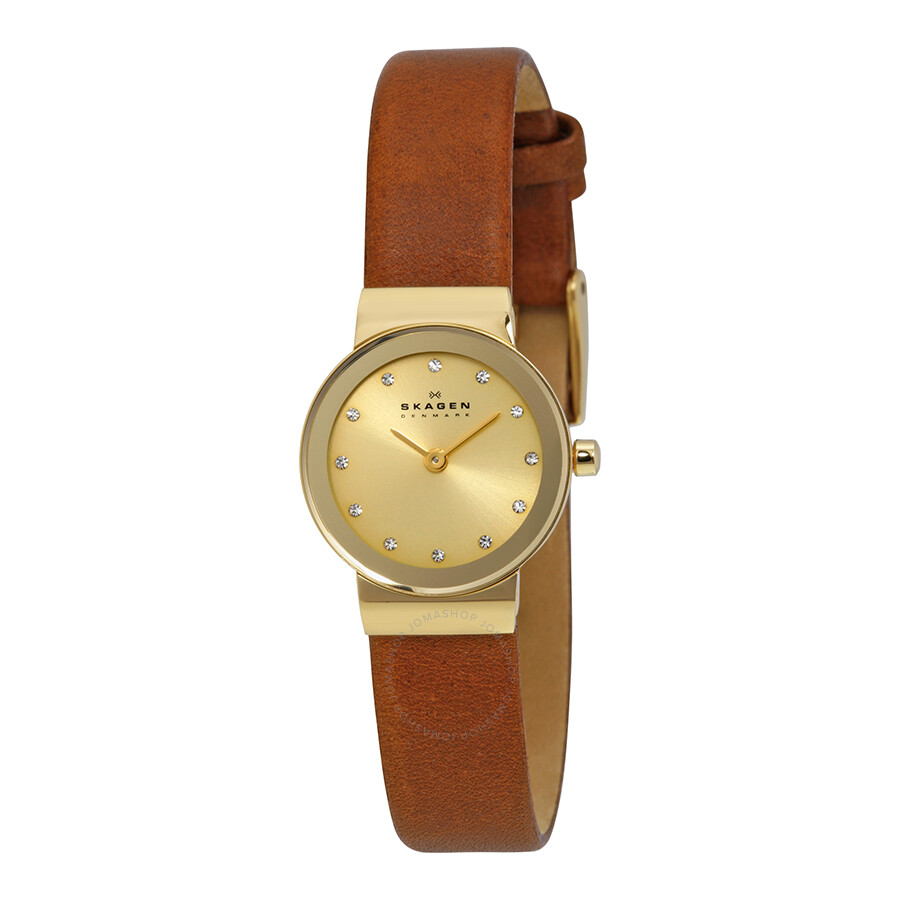 Leather Gmbh Contact Us Email Sales Mail: Skagen Freja Gold Dial Brown Saddle Leather Ladies Watch