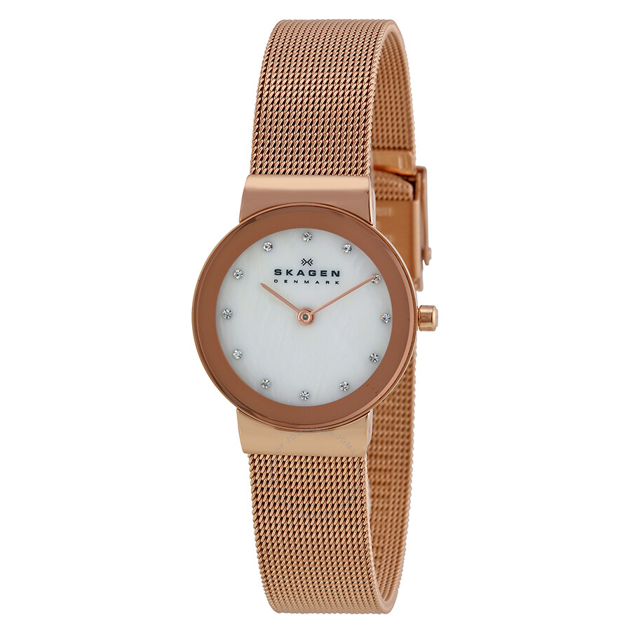 Skagen Freja Mother of Pearl Dial Rose Gold-tone Ladies ...
