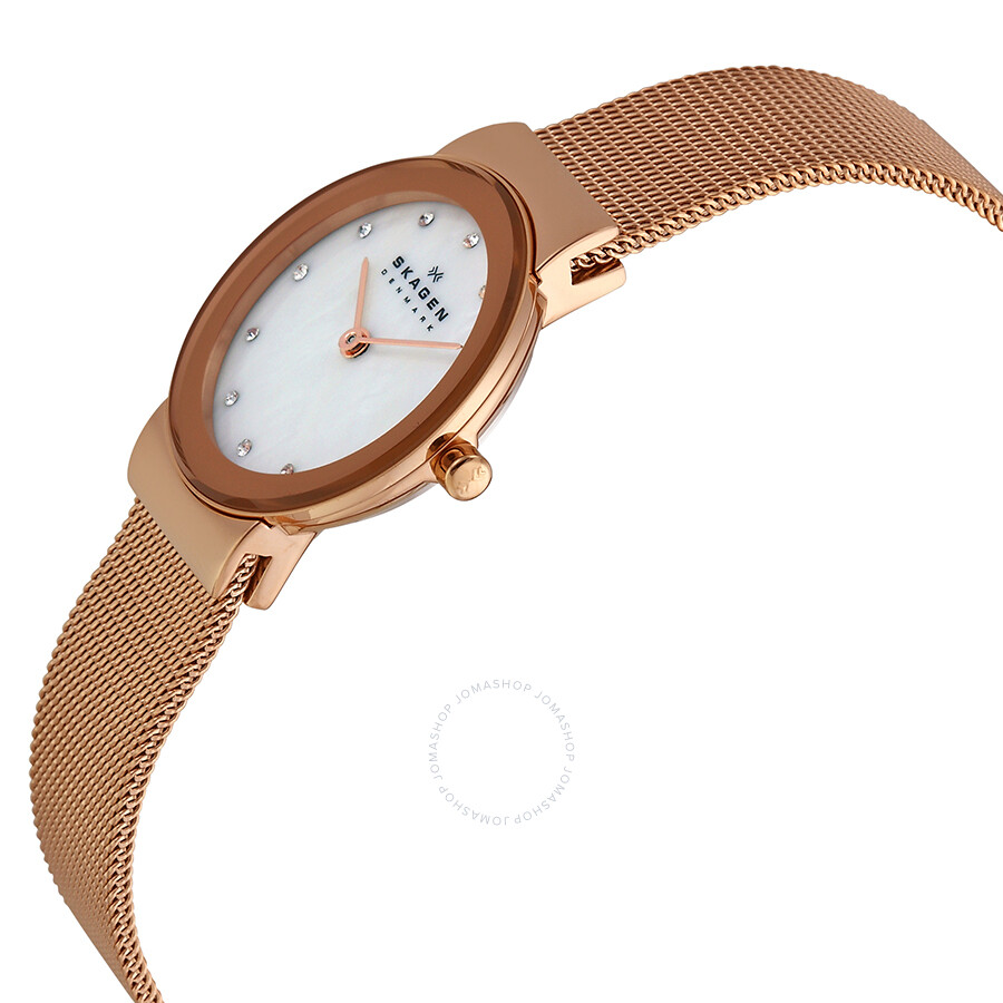 Skagen freja mother of pearl dial rose gold tone ladies watch 358srrd other skagen watches for Mother of pearl dial watch