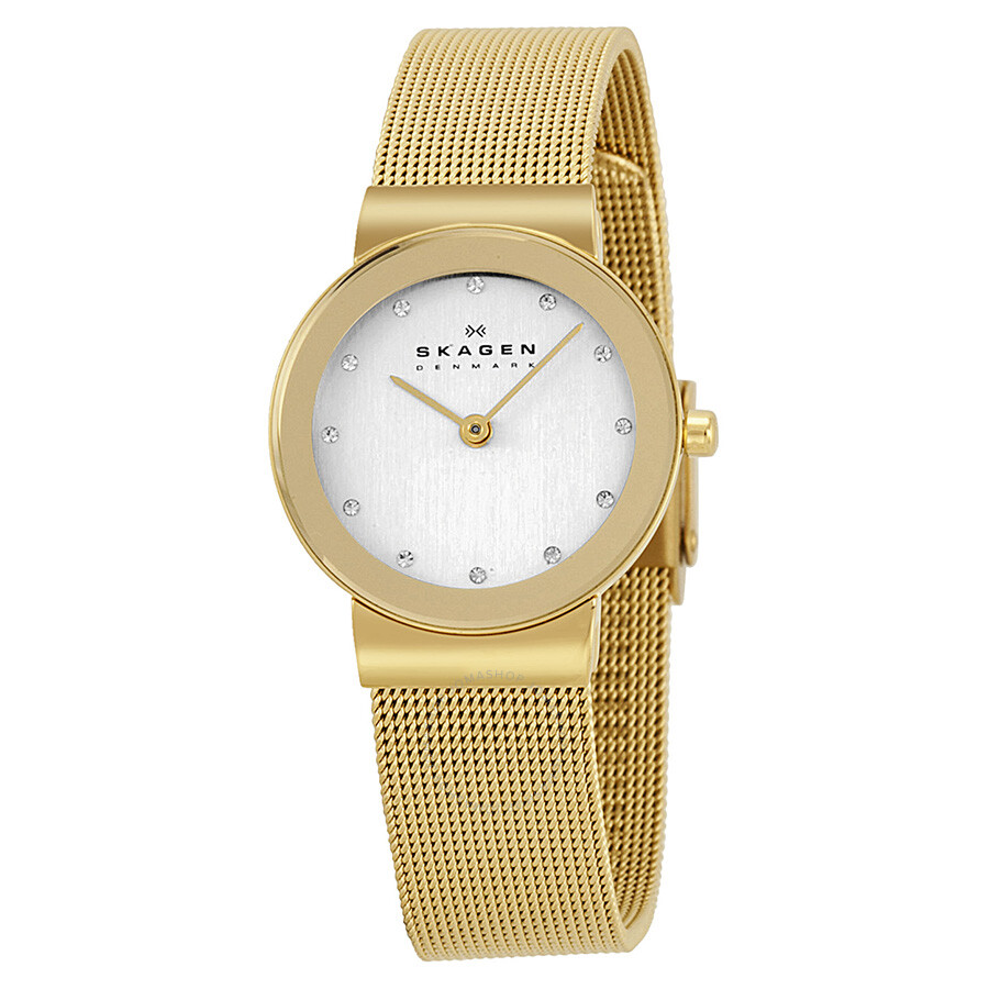 skagen freja silver dial goldplated mesh ladies watch
