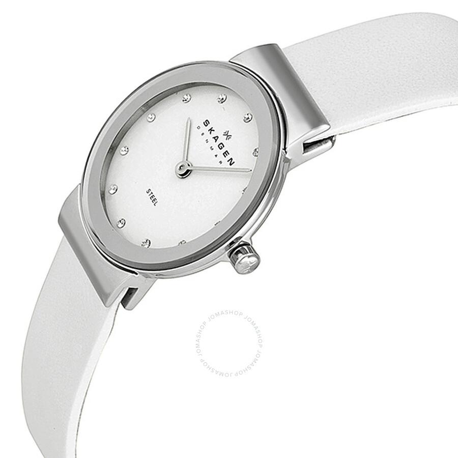 4118f1004 ... Skagen Glitz White Dial Stainless Steel White Leather Ladies Watch  358SSLW1 ...