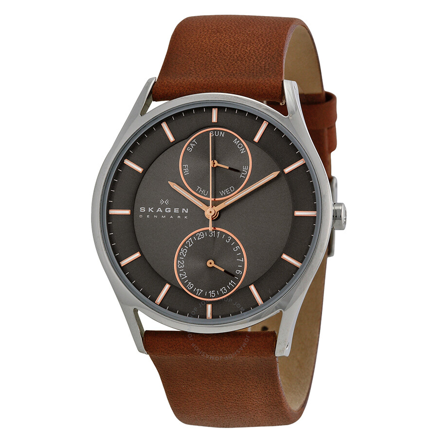 79268d69bc7 Skagen Holst Charcoal Dial Brown Leather Men s Watch SKW6086 - Holst ...