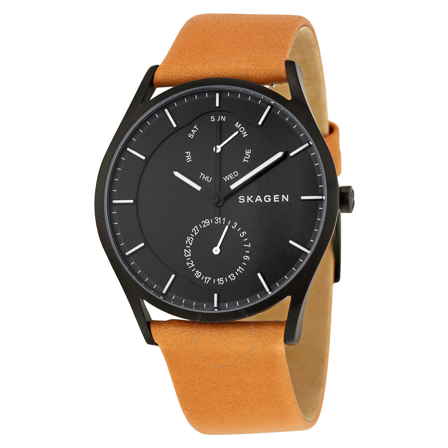 Leather Gmbh Contact Us Email Sales Mail: Skagen Holst Multifunction Black Dial Brown Leather Men's