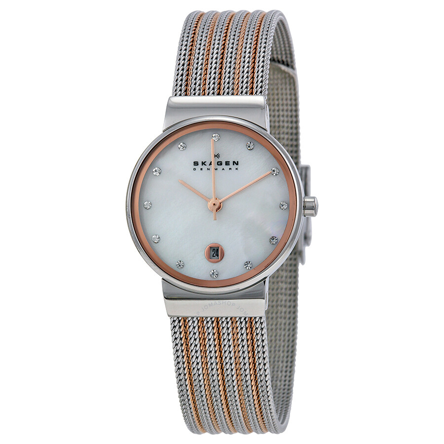 skagen mother of pearl dial two tone mesh ladies watch. Black Bedroom Furniture Sets. Home Design Ideas