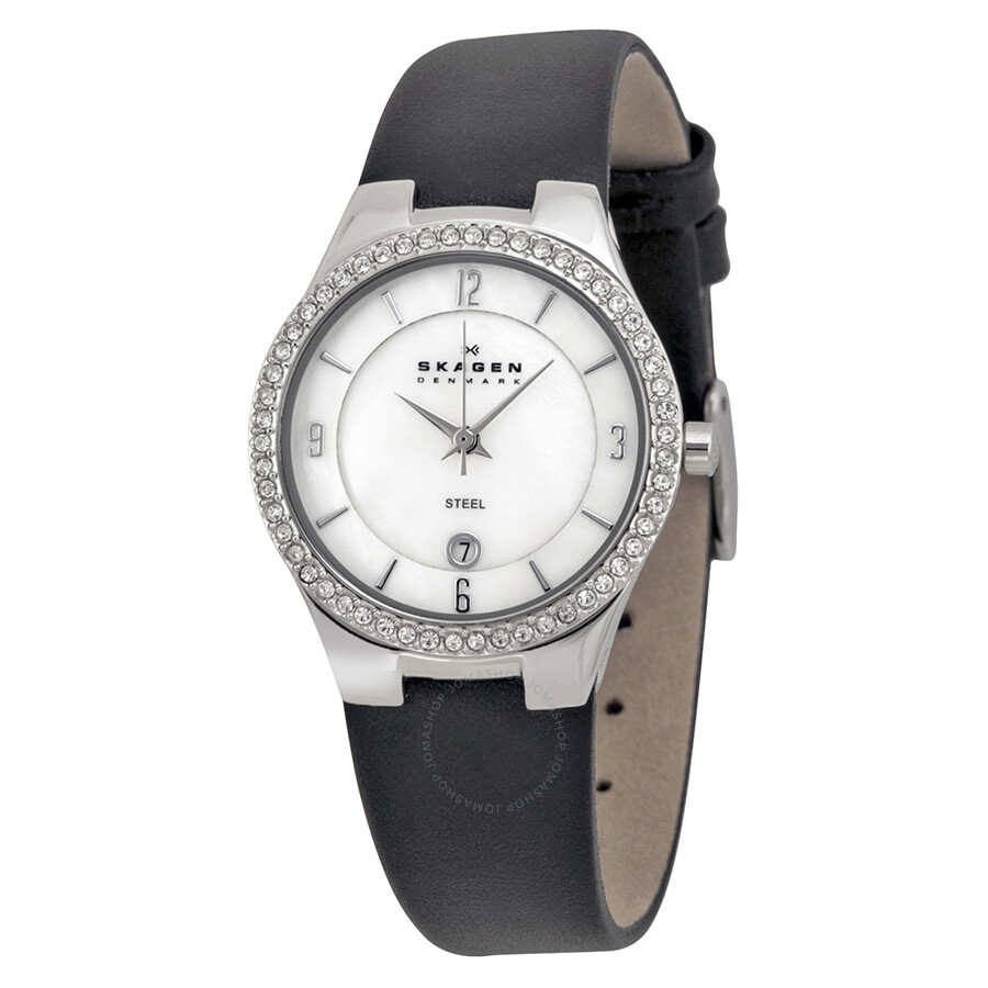 Skagen mother of pearl swarovski crystal black leather ladies watch 630sslb1 swarovski with for Crystal watches