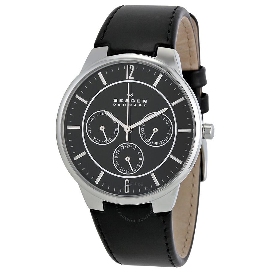61abd64047a Skagen Multi Function Black Dial Black Leather Men s Watch 331XLSLB ...