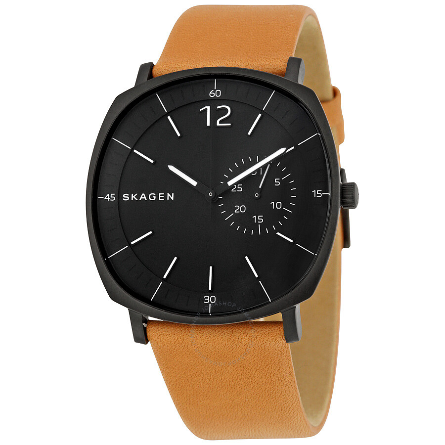 Leather Gmbh Contact Us Email Sales Mail: Skagen Rungsted Black Dial Tan Leather Men's Watch SKW6257