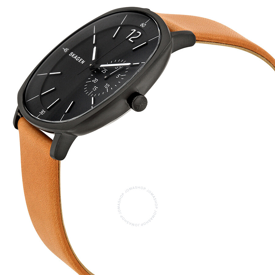 Skagen rungsted black dial tan leather men 39 s watch skw6257 skagen watches jomashop for Black tan watch