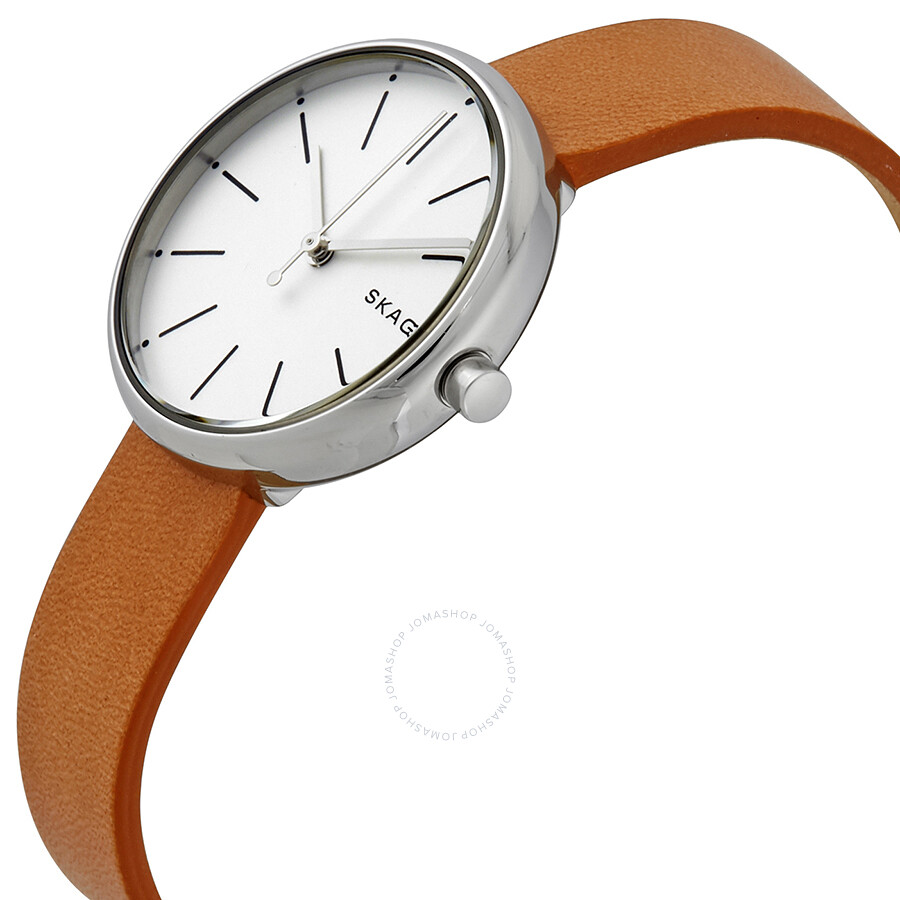 skagen signature white dial ladies leather watch skw2594. Black Bedroom Furniture Sets. Home Design Ideas