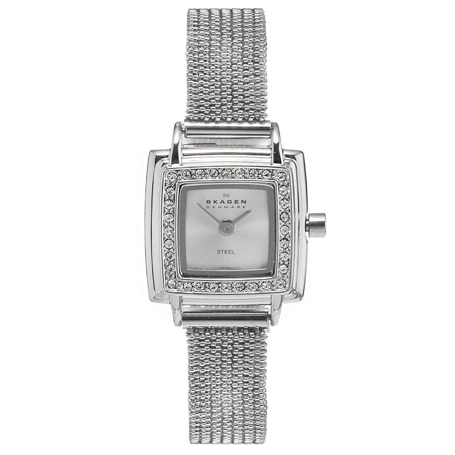 Skagen silver dial swarovski crystal bezel ladies watch 821xsss1 swarovski watches jomashop for Crystal ladies watch