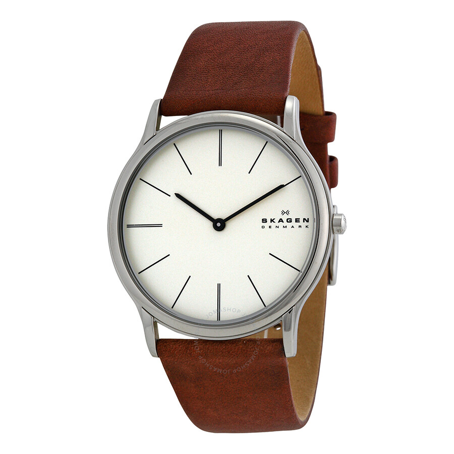 Skagen theodor cream dial brown leather strap men 39 s watch skw6083 skagen watches jomashop for Leather strap watches
