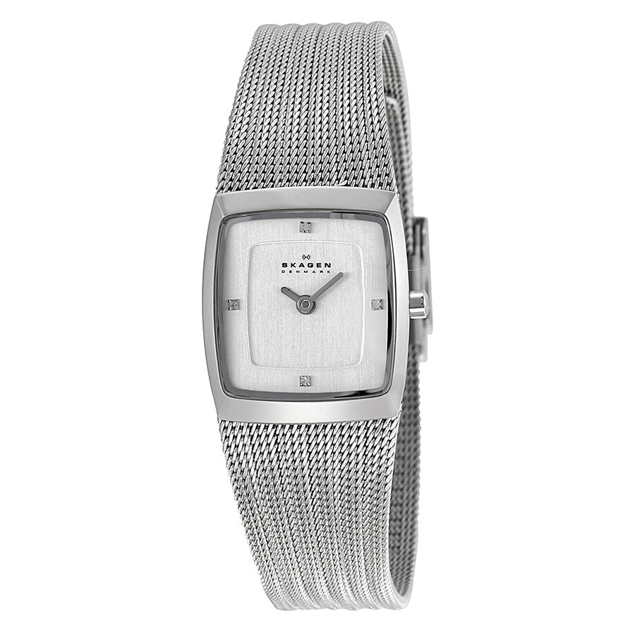 Skagen Trine Chrome Square Dial Stainless Steel Mesh Ladies Watch 380XSSS1