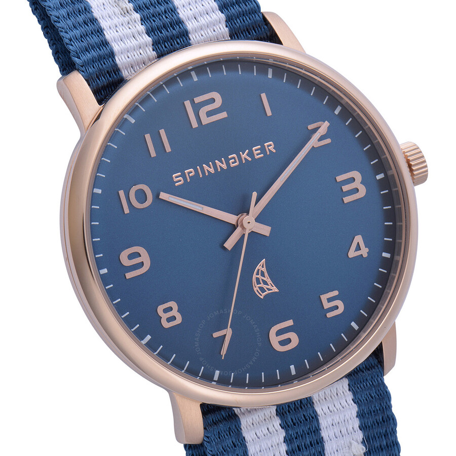 dress watch on nato spinnaker nantucket blue dial blue and white nato strap men u0027s