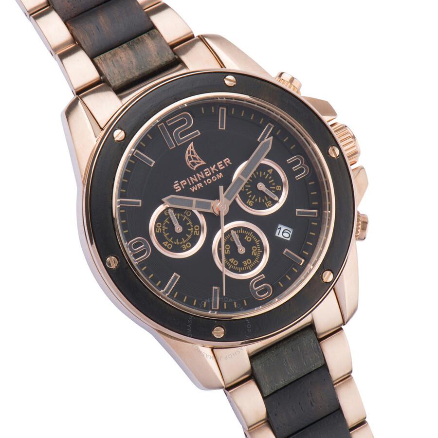 spinnaker vessel black chronograph dial two tone bracelet. Black Bedroom Furniture Sets. Home Design Ideas