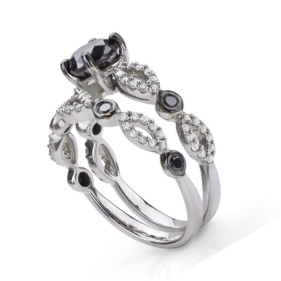 Sterling Silver 1 1 2cttw TDW Black and White Diamond Bridal Ring Set H I I