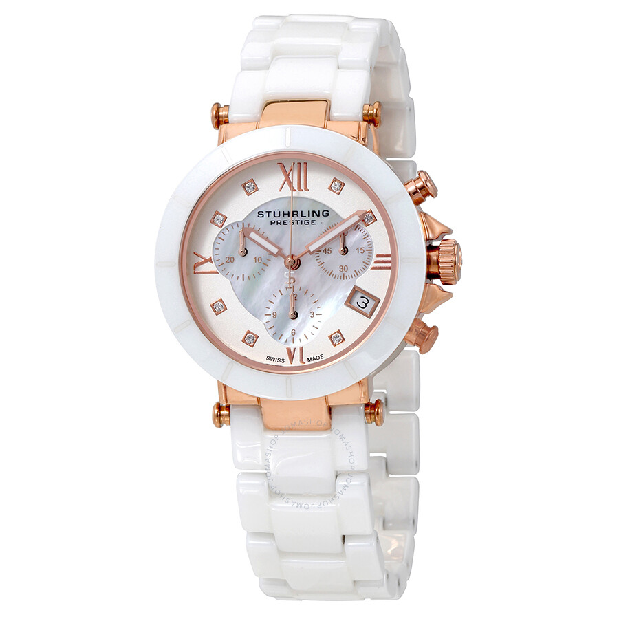 Stuhrling Mother Of Pearl Dial White Ceramic Ladies Watch 512l