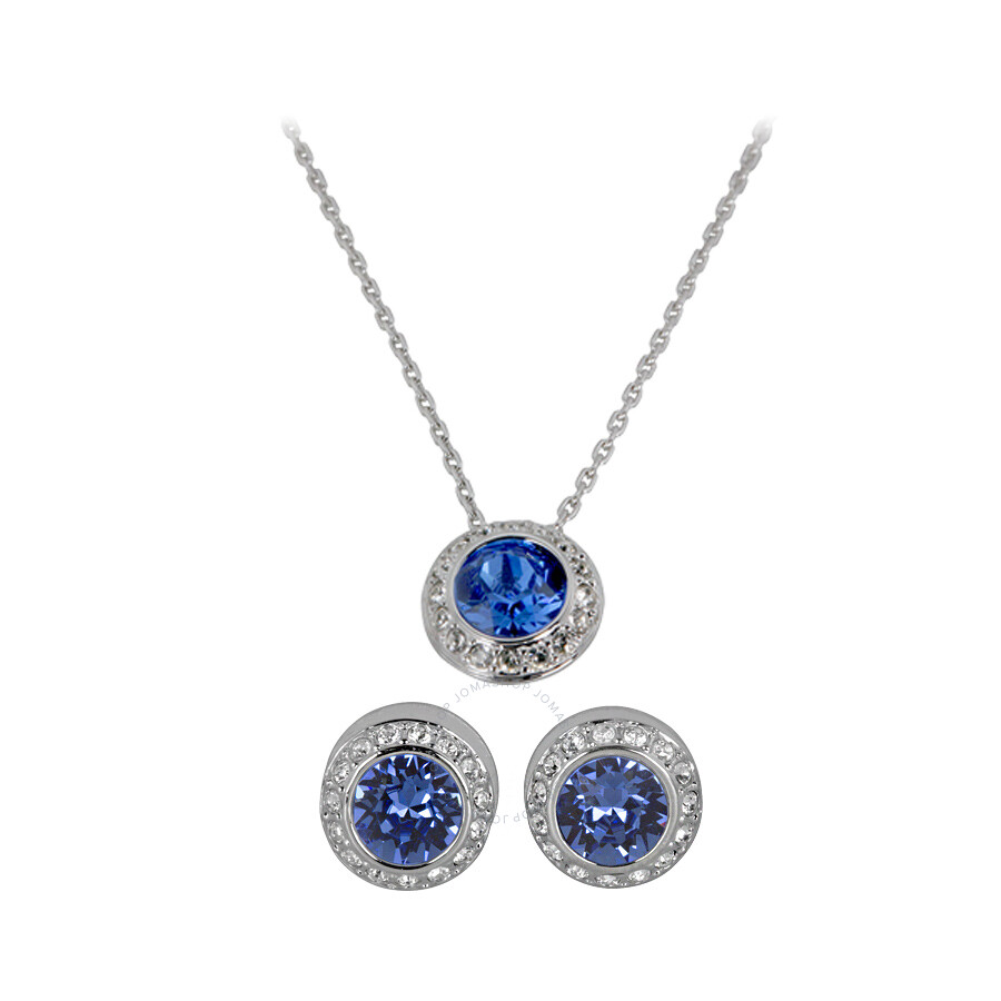 Swarovski Angelic Sapphire Pendant And Pierced Earrings