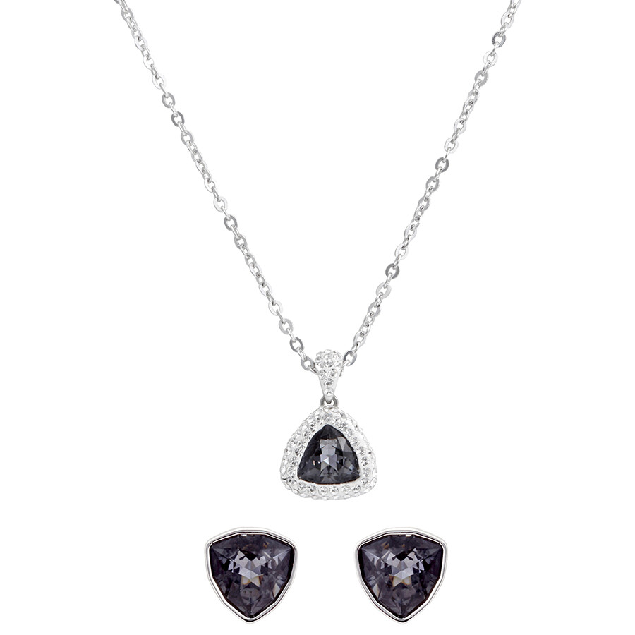 Swarovski Begin Gray Earrings And Necklace Set