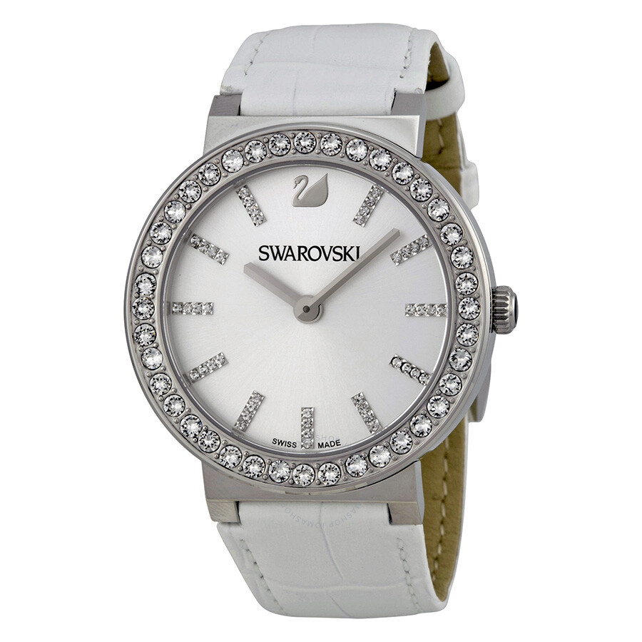 Swarovski citra sphere silver dial stainless steel crystal case white leather ladies watch for Crystal ladies watch