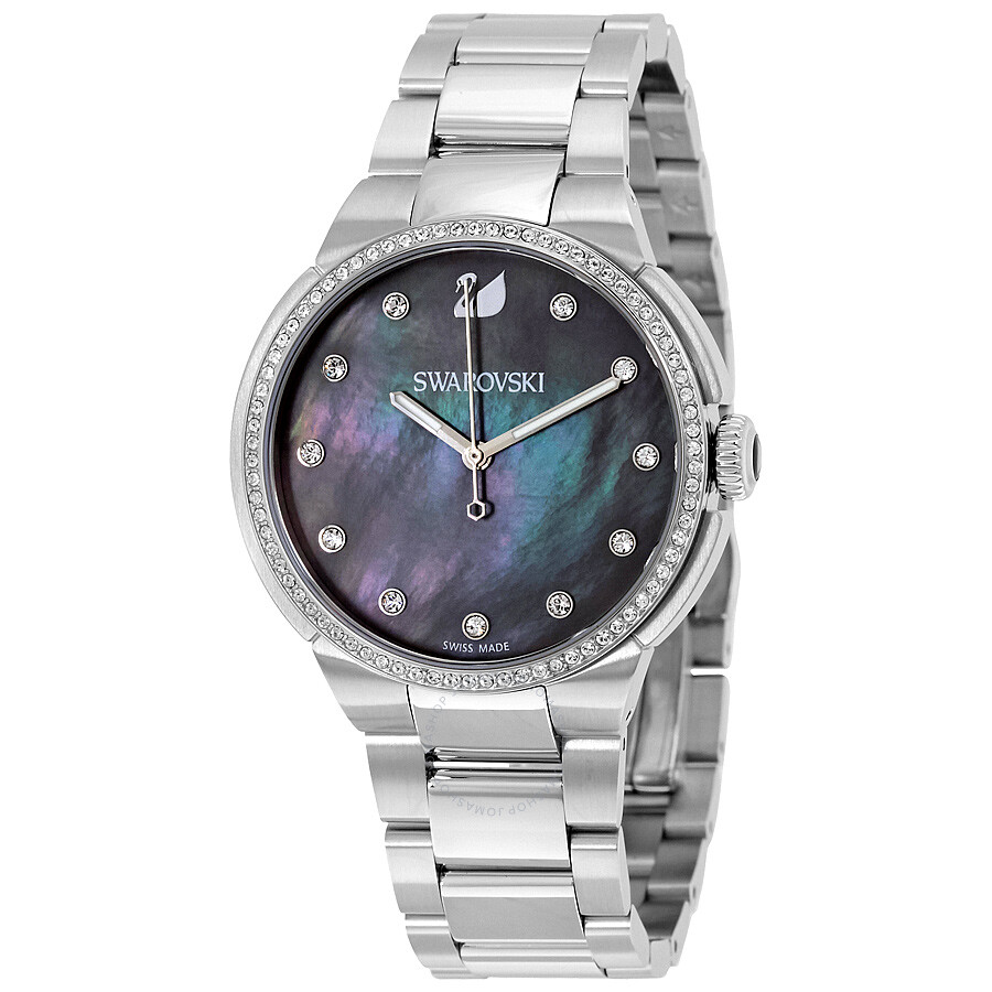 Swarovski city grey mother of pearl dial ladies watch 5205990 swarovski watches jomashop for Pearl watches